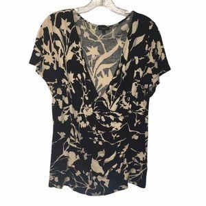 3/$21 Talbots Floral Print V-Neck Shirt